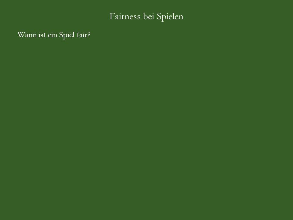 Fairness bei Spielen Aus Sicht des Spielanbieters: A = Augensumme, N = Nettogewinn, B = Bruttogewinn, P = Wahrscheinlichkeit A123456 N-2,20-1,20-0,200,801,802,80 B123456 P1/6 Beobachtung: Gewinn und Verlust heben sich nicht auf, denn -2,20 -1,20 -0,20 +0,80 +1,80 +2,80 = +1,80 (-3,20+1)+(-3,20+2)+(-3,20+3)+(-3,20+4)+(-3,20+5)+(-3,20+6) = +1,80 Wählen Einsatz c so, dass Gewinn und Verlust sich aufheben: