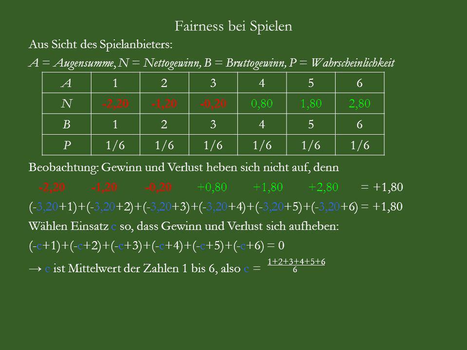 Fairness bei Spielen Aus Sicht des Spielanbieters: A = Augensumme, N = Nettogewinn, B = Bruttogewinn, P = Wahrscheinlichkeit A123456 N-2,20-1,20-0,200,801,802,80 B123456 P1/6 Beobachtung: Gewinn und Verlust heben sich nicht auf, denn -2,20 -1,20 -0,20 +0,80 +1,80 +2,80 = +1,80 (-3,20+1)+(-3,20+2)+(-3,20+3)+(-3,20+4)+(-3,20+5)+(-3,20+6) = +1,80 Wählen Einsatz c so, dass Gewinn und Verlust sich aufheben: (-c+1)+(-c+2)+(-c+3)+(-c+4)+(-c+5)+(-c+6) = 0 c ist Mittelwert der Zahlen 1 bis 6, also c = 6 1+2+3+4+5+6