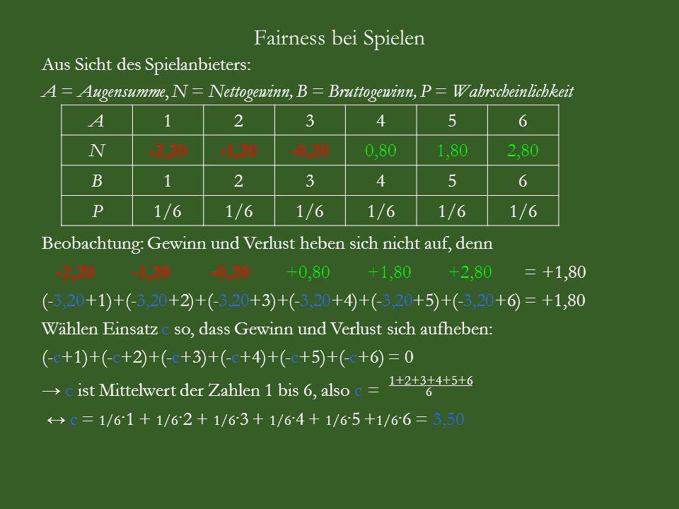 Fairness bei Spielen Aus Sicht des Spielanbieters: A = Augensumme, N = Nettogewinn, B = Bruttogewinn, P = Wahrscheinlichkeit A123456 N-2,20-1,20-0,200,801,802,80 B123456 P1/6 Beobachtung: Gewinn und Verlust heben sich nicht auf, denn -2,20 -1,20 -0,20 +0,80 +1,80 +2,80 = +1,80 (-3,20+1)+(-3,20+2)+(-3,20+3)+(-3,20+4)+(-3,20+5)+(-3,20+6) = +1,80 Wählen Einsatz c so, dass Gewinn und Verlust sich aufheben: (-c+1)+(-c+2)+(-c+3)+(-c+4)+(-c+5)+(-c+6) = 0 c ist Mittelwert der Zahlen 1 bis 6, also c = 6 c = 1/6 · 1 + 1/6 · 2 + 1/6 ·3 + 1/6 ·4 + 1/6 ·5 + 1/6 ·6 = 3,50 1+2+3+4+5+6
