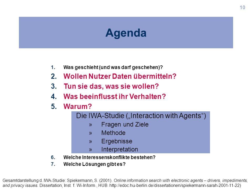 10 Agenda 1.Was geschieht (und was darf geschehen)? 2.Wollen Nutzer Daten übermitteln? 3.Tun sie das, was sie wollen? 4.Was beeinflusst ihr Verhalten?