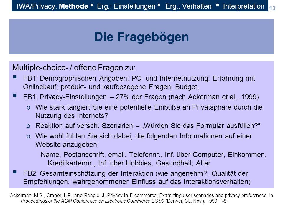 13 Die Fragebögen Multiple-choice- / offene Fragen zu: FB1: Demographischen Angaben; PC- und Internetnutzung; Erfahrung mit Onlinekauf; produkt- und k