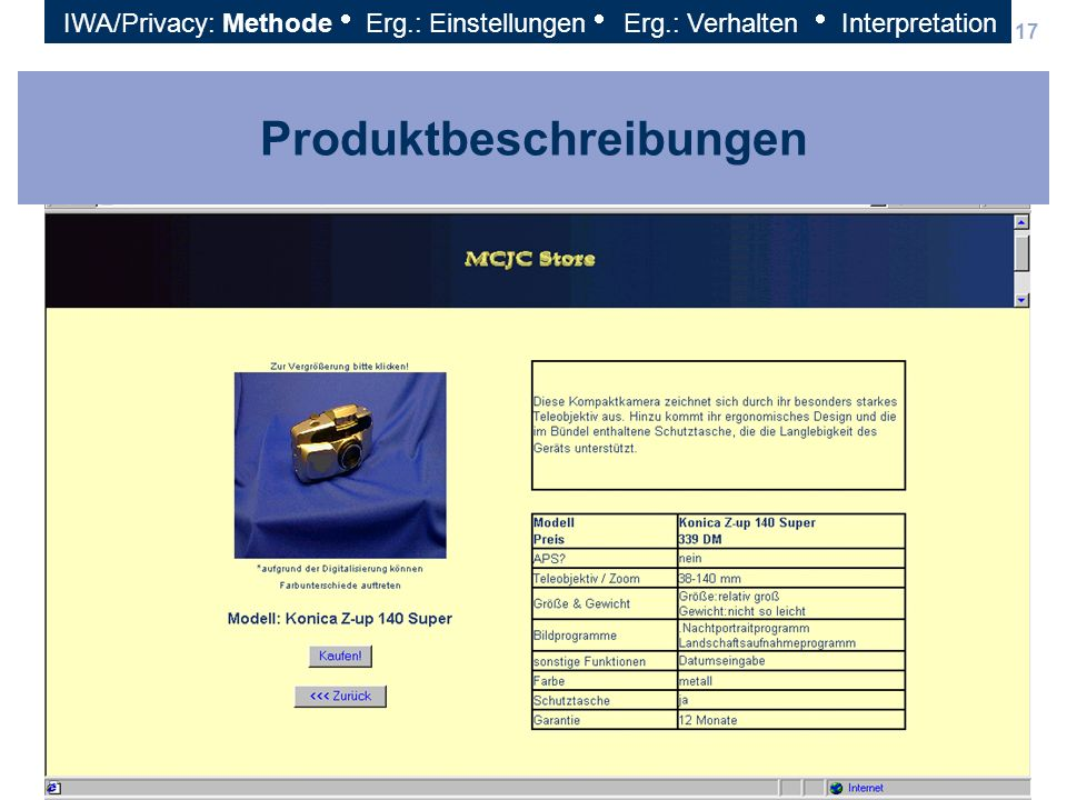 17 Produktbeschreibungen IWA/Privacy: Methode Erg.: Einstellungen Erg.: Verhalten Interpretation