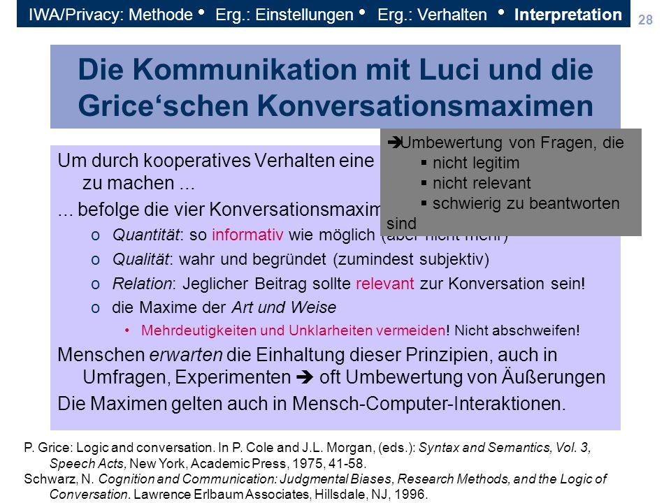 28 Die Kommunikation mit Luci und die Griceschen Konversationsmaximen Um durch kooperatives Verhalten eine Kommunikation erfolgreich zu machen...... b