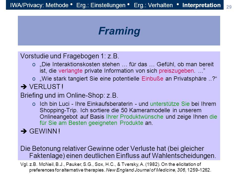 29 Framing Vorstudie und Fragebogen 1: z.B. oDie Interaktionskosten stehen … für das … Gefühl, ob man bereit ist, die verlangte private Information vo