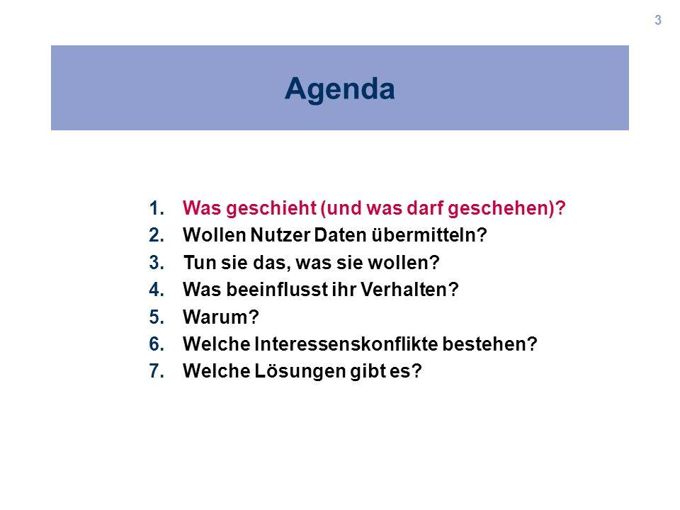 3 Agenda 1.Was geschieht (und was darf geschehen)? 2.Wollen Nutzer Daten übermitteln? 3.Tun sie das, was sie wollen? 4.Was beeinflusst ihr Verhalten?
