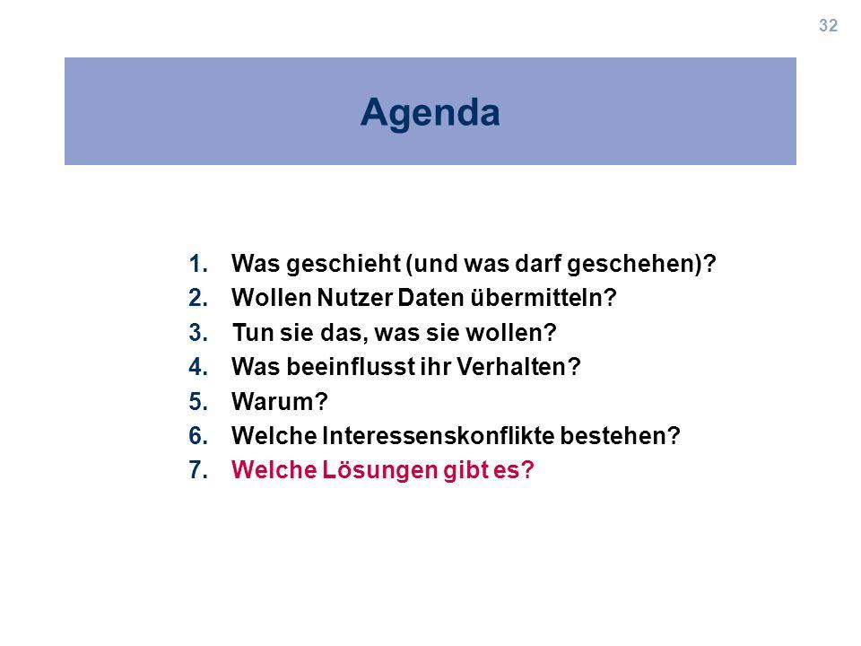 32 Agenda 1.Was geschieht (und was darf geschehen)? 2.Wollen Nutzer Daten übermitteln? 3.Tun sie das, was sie wollen? 4.Was beeinflusst ihr Verhalten?