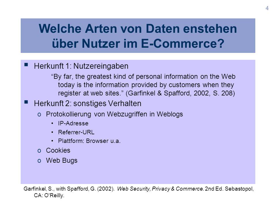 4 Welche Arten von Daten enstehen über Nutzer im E-Commerce? Herkunft 1: Nutzereingaben By far, the greatest kind of personal information on the Web t