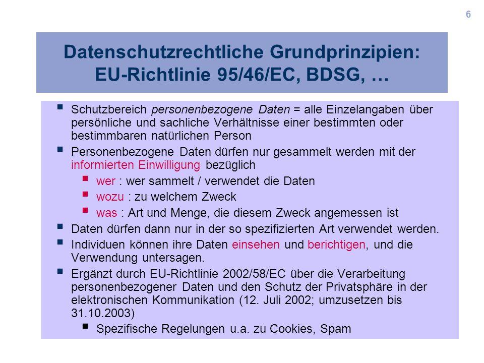 6 Datenschutzrechtliche Grundprinzipien: EU-Richtlinie 95/46/EC, BDSG, … Schutzbereich personenbezogene Daten = alle Einzelangaben über persönliche un