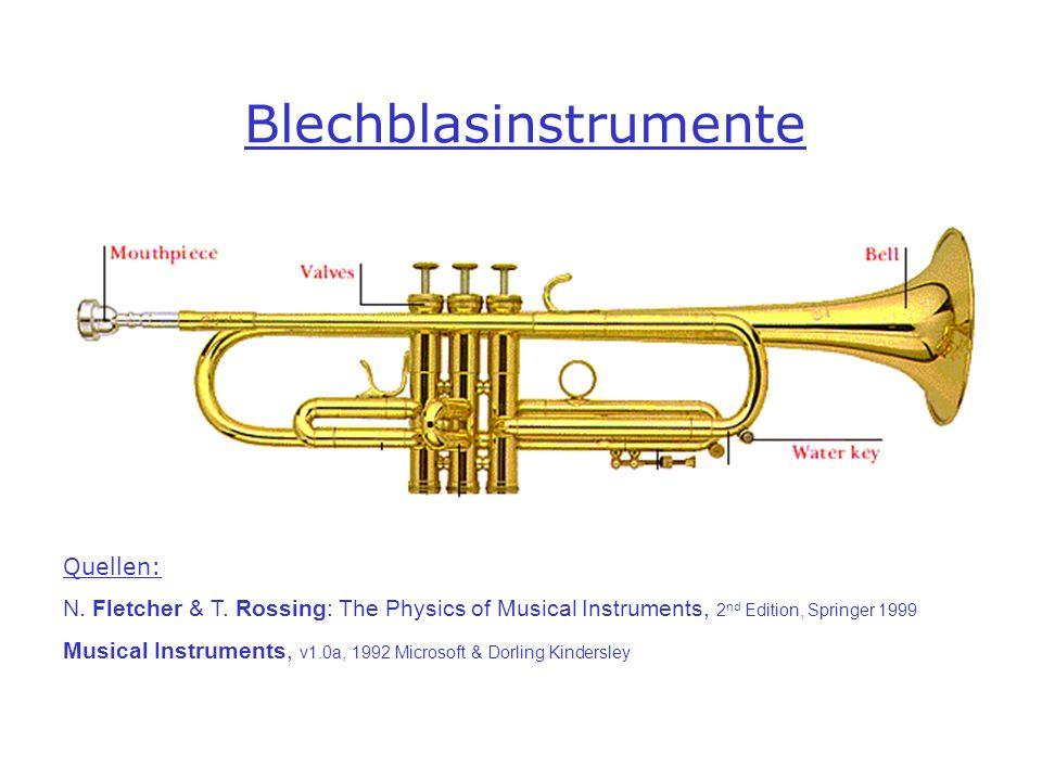 Blechblasinstrumente Quellen: N. Fletcher & T. Rossing: The Physics of Musical Instruments, 2 nd Edition, Springer 1999 Musical Instruments, v1.0a, 19