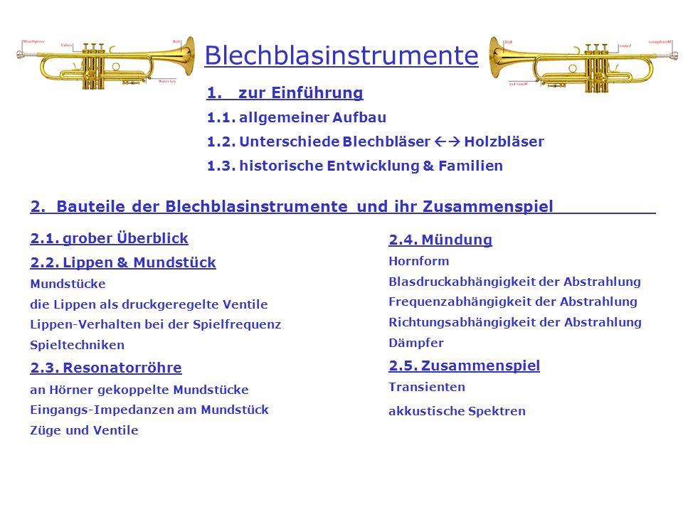 Blechblasinstrumente 1. zur Einführung 1.1. allgemeiner Aufbau 1.2. Unterschiede Blechbläser Holzbläser 1.3. historische Entwicklung & Familien 2. Bau