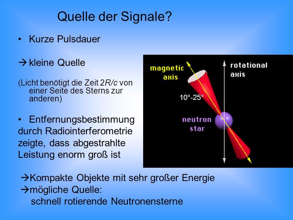 Kurze Pulsdauer kleine Quelle (Licht benötigt die Zeit 2R/c von einer Seite des Sterns zur anderen) Entfernungsbestimmung durch Radiointerferometrie z