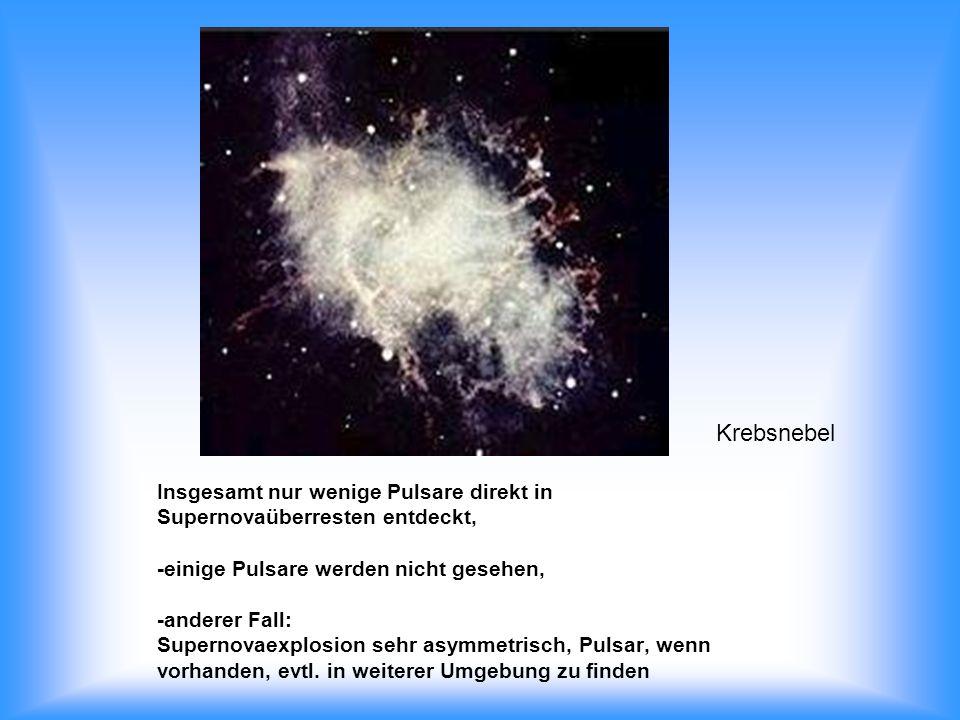 Insgesamt nur wenige Pulsare direkt in Supernovaüberresten entdeckt, -einige Pulsare werden nicht gesehen, -anderer Fall: Supernovaexplosion sehr asym