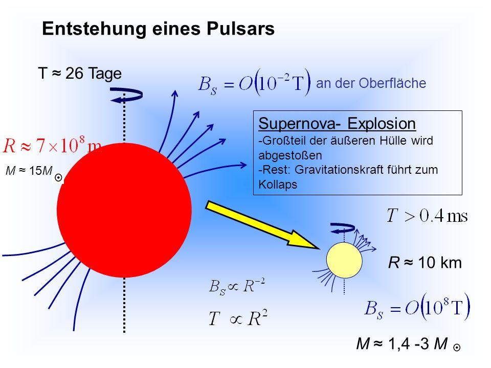 Kollaps eines rotierenden Sterns der Masse M mit Radius R, Winkelgeschwindigkeit und Drehimpuls Drehimpulserhaltung bei Verkleinerung des Radius nimmt die Winkelgeschwindigkeit zu Rotationsenergie: Größenordnung 10 44 J (abgestrahlte Energie der Sonne während ihres gesamten Lebens) Rotationsdauer: Magnetische Flussdichte: weil Stern auseinanderfliegen würde, wenn E rot größer als E kin, und somit: Flusserhaltung unendliche Leitfähigkeit