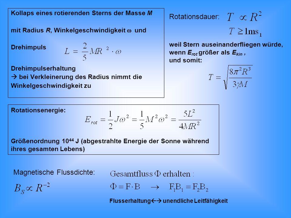 Pulsar verliert Rotationsenergie Abbremsung (Verlust an Rotationsenergie) entspricht dem Energieverlust durch Emission von magnetischer Dipolstrahlung: Komponente des magnetischen Moments senkrecht zur Rotationsachse allgemein: n: Bremsparameter, bestimmbar über: (siehe Herzscher Dipol) 10 8 T 10 6 T 10 6 yr 10 10 yr T (s) log 10 T ·