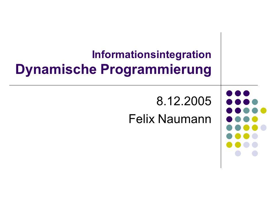 8.12.2005Felix Naumann, VL Informationsintegration, WS 05/0612 Architektur zur Anfragebearbeitung Parser Anfrage- umschreibung Anfrage- optimierung Code Generierung Anfragebearbeitung (Engine) Katalog/ Metadaten Anfrage Daten Anfrage- ergebnis Syntax und etwas Semantik Erzeugt Anfragegraph Logische Optimierung (unabhängig von System und Konfiguration): Entschachtelung, redundante Prädikate,...