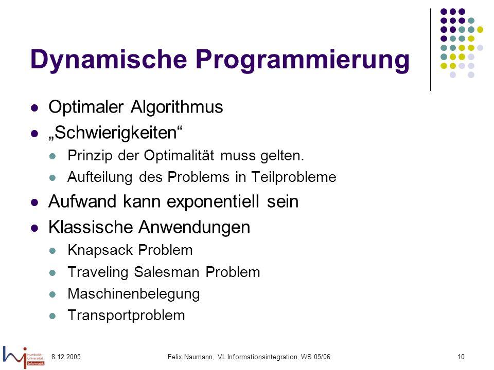 8.12.2005Felix Naumann, VL Informationsintegration, WS 05/0610 Dynamische Programmierung Optimaler Algorithmus Schwierigkeiten Prinzip der Optimalität