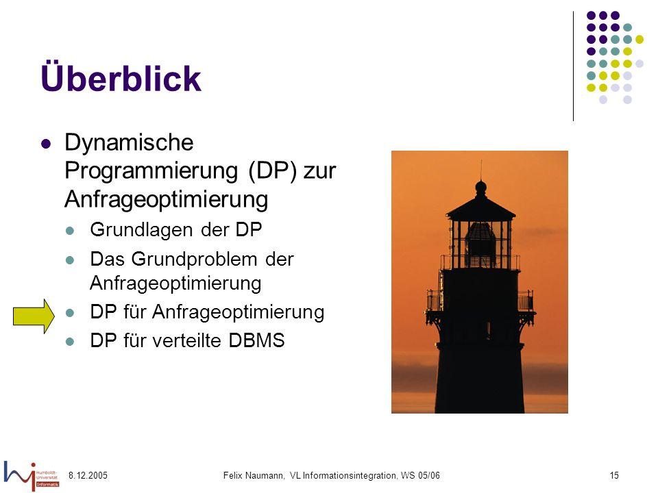 8.12.2005Felix Naumann, VL Informationsintegration, WS 05/0615 Überblick Dynamische Programmierung (DP) zur Anfrageoptimierung Grundlagen der DP Das G