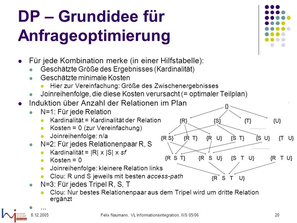 8.12.2005Felix Naumann, VL Informationsintegration, WS 05/0620 DP – Grundidee für Anfrageoptimierung Für jede Kombination merke (in einer Hilfstabelle