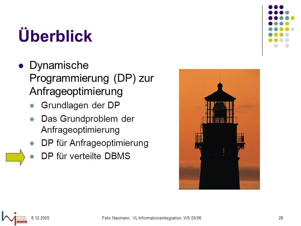 8.12.2005Felix Naumann, VL Informationsintegration, WS 05/0628 Überblick Dynamische Programmierung (DP) zur Anfrageoptimierung Grundlagen der DP Das G