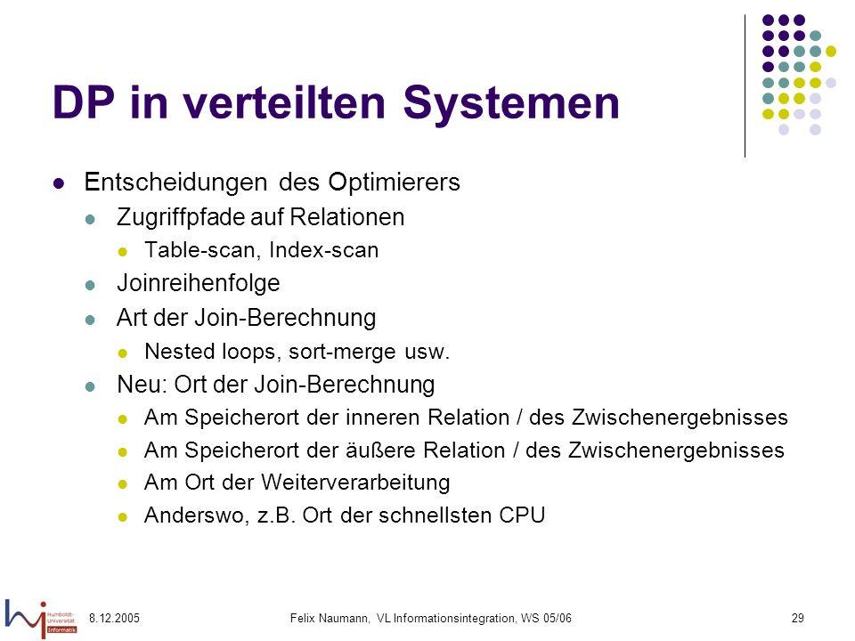 8.12.2005Felix Naumann, VL Informationsintegration, WS 05/0629 DP in verteilten Systemen Entscheidungen des Optimierers Zugriffpfade auf Relationen Ta