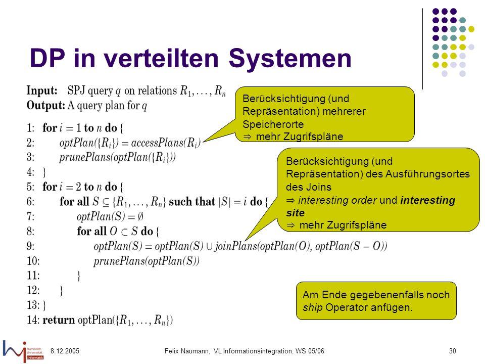 8.12.2005Felix Naumann, VL Informationsintegration, WS 05/0630 DP in verteilten Systemen Berücksichtigung (und Repräsentation) mehrerer Speicherorte m