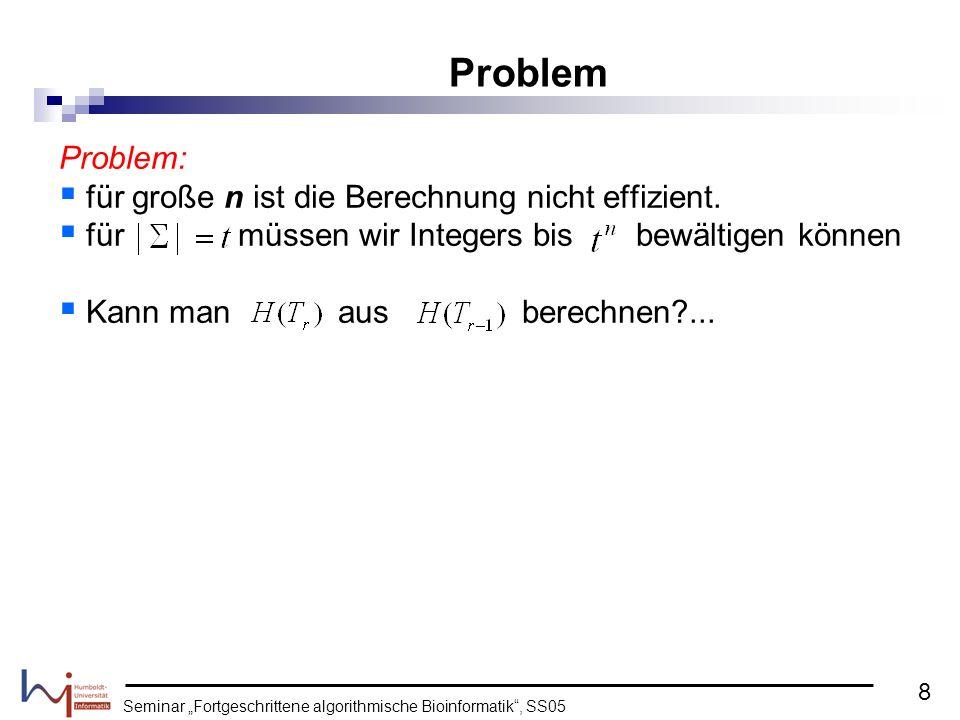 Seminar Fortgeschrittene algorithmische Bioinformatik, SS05 Problem: für große n ist die Berechnung nicht effizient. für müssen wir Integers bis bewäl