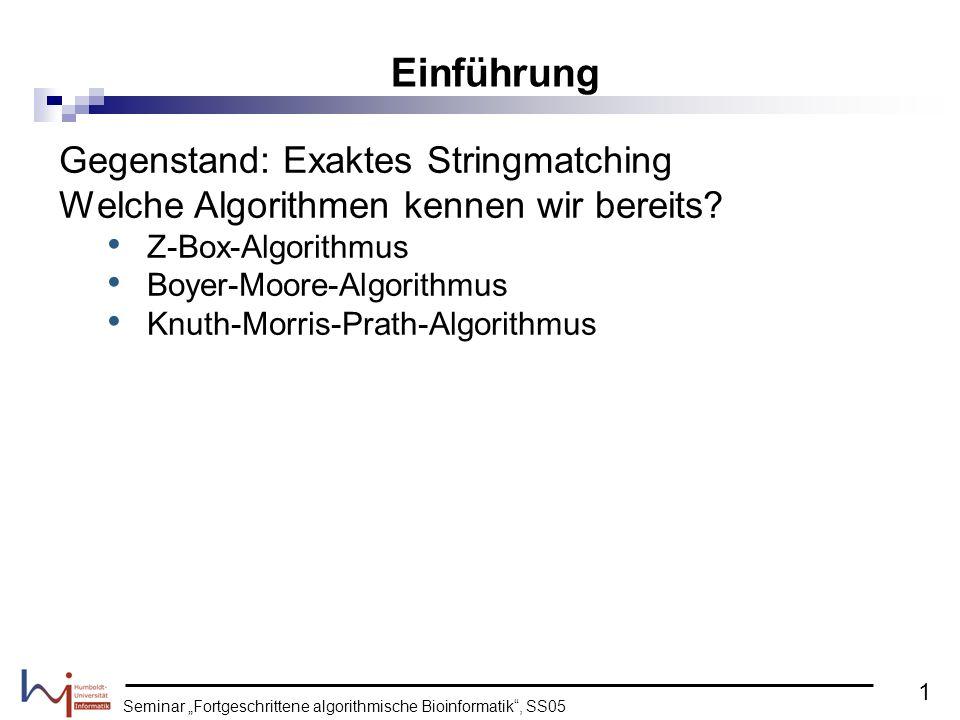 Seminar Fortgeschrittene algorithmische Bioinformatik, SS05 Gegenstand: Exaktes Stringmatching Welche Algorithmen kennen wir bereits? Z-Box-Algorithmu