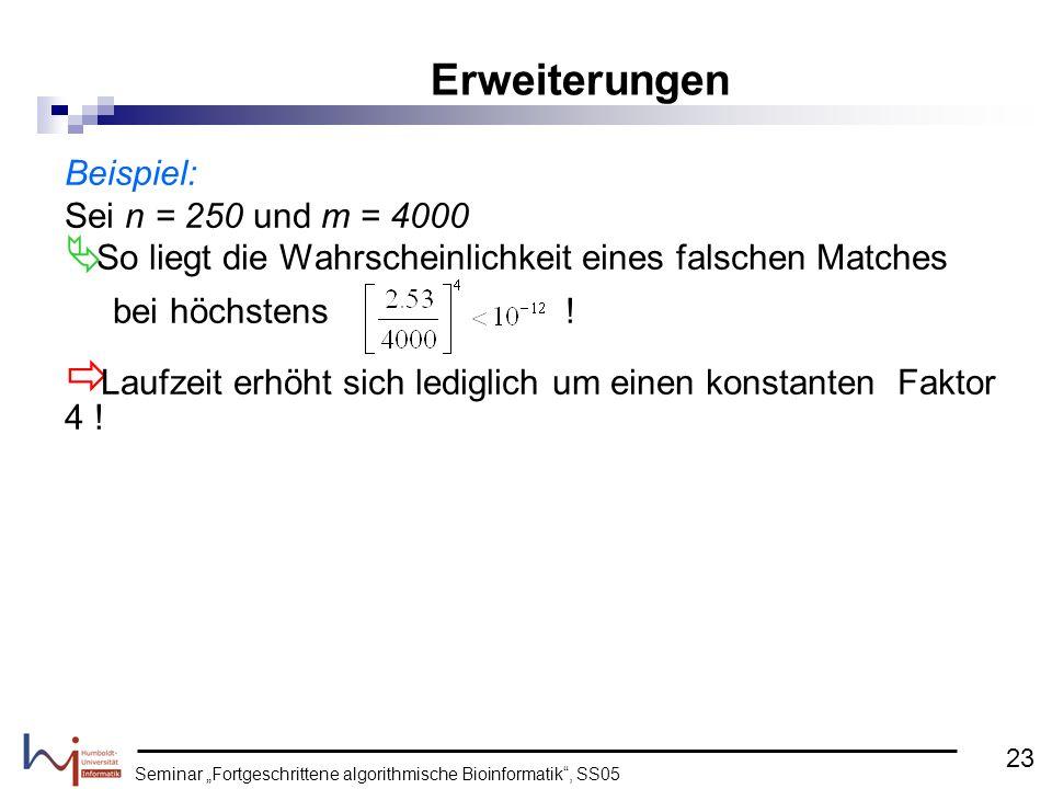 Seminar Fortgeschrittene algorithmische Bioinformatik, SS05 Beispiel: Sei n = 250 und m = 4000 So liegt die Wahrscheinlichkeit eines falschen Matches
