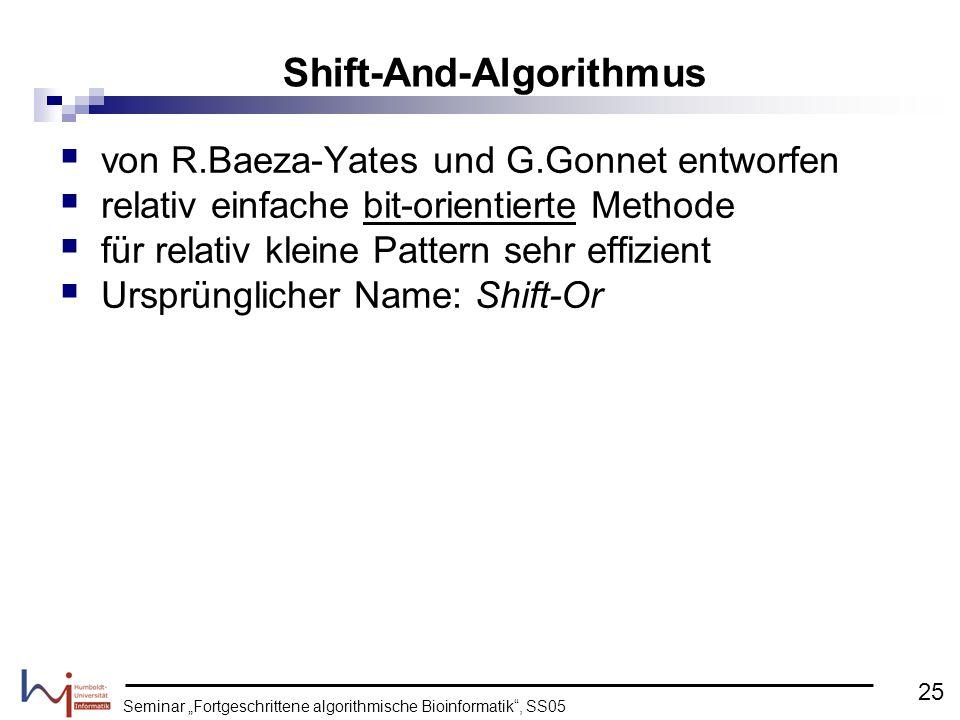 Seminar Fortgeschrittene algorithmische Bioinformatik, SS05 von R.Baeza-Yates und G.Gonnet entworfen relativ einfache bit-orientierte Methode für rela