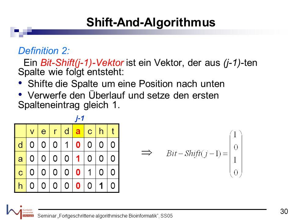 Seminar Fortgeschrittene algorithmische Bioinformatik, SS05 Definition 2: Ein Bit-Shift(j-1)-Vektor ist ein Vektor, der aus (j-1)-ten Spalte wie folgt