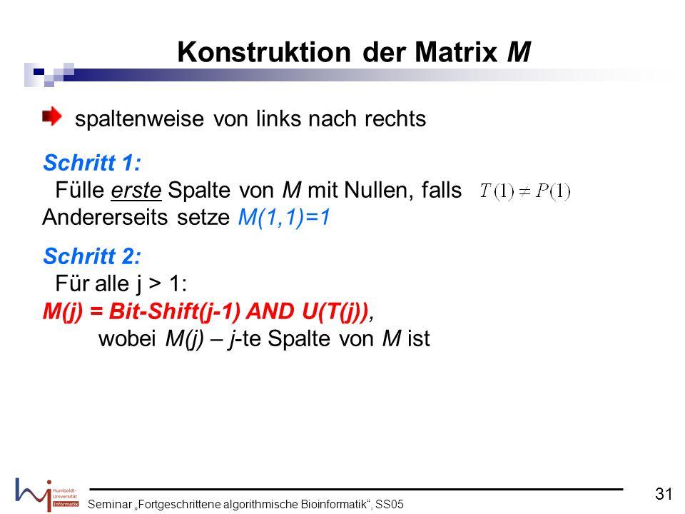Seminar Fortgeschrittene algorithmische Bioinformatik, SS05 spaltenweise von links nach rechts Schritt 1: Fülle erste Spalte von M mit Nullen, falls A