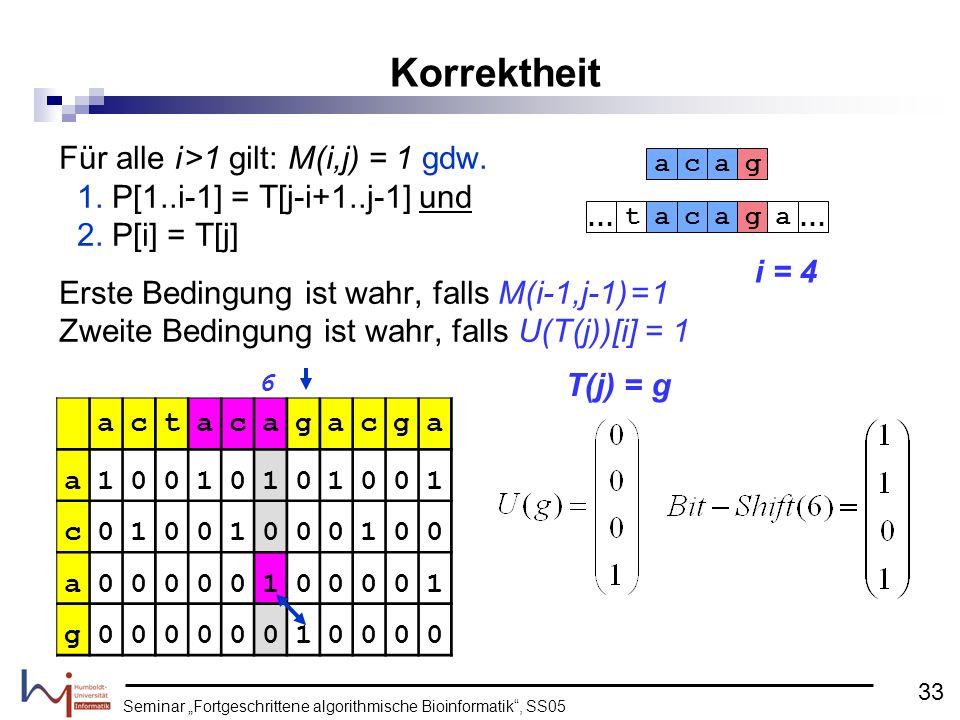 Seminar Fortgeschrittene algorithmische Bioinformatik, SS05 Für alle i >1 gilt: M(i,j) = 1 gdw. 1. P[1..i-1] = T[j-i+1..j-1] und 2. P[i] = T[j] Erste