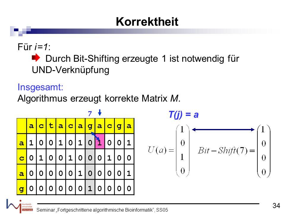 Seminar Fortgeschrittene algorithmische Bioinformatik, SS05 Für i =1: Durch Bit-Shifting erzeugte 1 ist notwendig für UND-Verknüpfung Insgesamt: Algor
