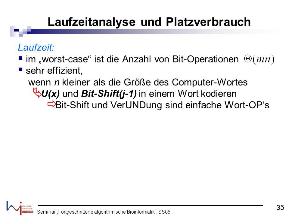 Seminar Fortgeschrittene algorithmische Bioinformatik, SS05 Laufzeit: im worst-case ist die Anzahl von Bit-Operationen sehr effizient, wenn n kleiner