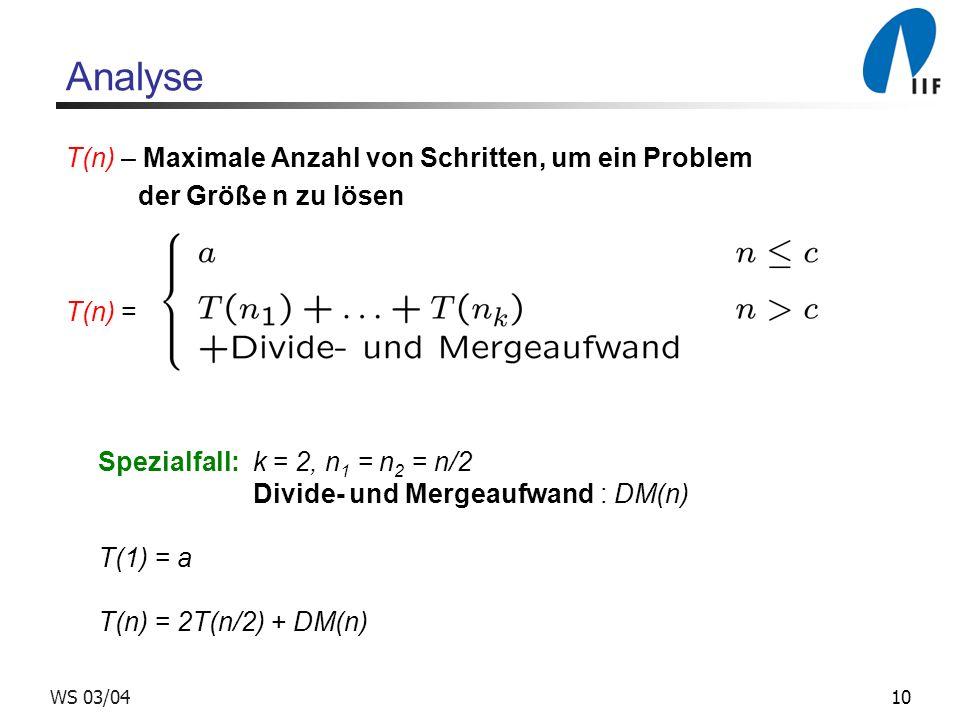 10WS 03/04 Analyse T(n) – Maximale Anzahl von Schritten, um ein Problem der Größe n zu lösen T(n) = Spezialfall: k = 2, n 1 = n 2 = n/2 Divide- und Mergeaufwand : DM(n) T(1) = a T(n) = 2T(n/2) + DM(n)