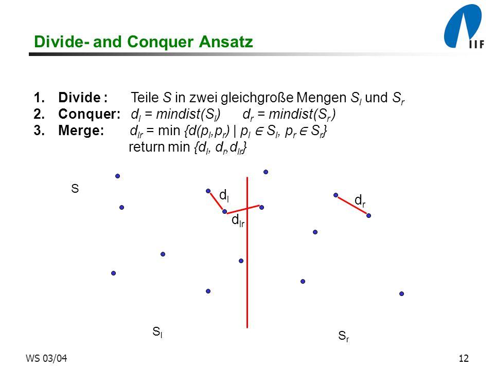 12WS 03/04 Divide- and Conquer Ansatz 1.Divide : Teile S in zwei gleichgroße Mengen S l und S r 2.Conquer: d l = mindist(S l ) d r = mindist(S r ) 3.Merge: d lr = min {d(p l,p r ) | p l S l, p r S r } return min {d l, d r,d lr } SrSr SlSl S dldl d lr d r