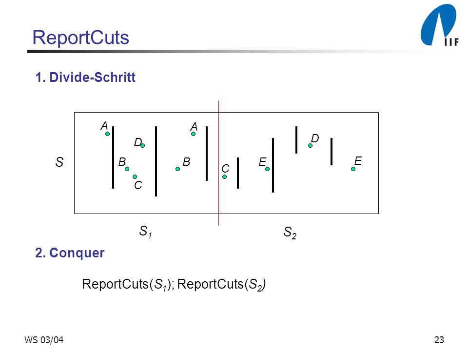 23WS 03/04 ReportCuts A B C D E A D B C E S S1S1 S2S2 1. Divide-Schritt 2. Conquer ReportCuts(S 1 ); ReportCuts(S 2 )