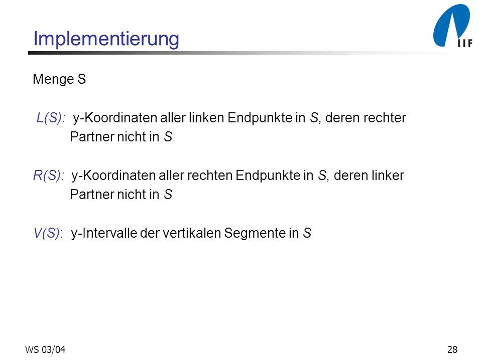 28WS 03/04 Implementierung Menge S L(S): y-Koordinaten aller linken Endpunkte in S, deren rechter Partner nicht in S R(S): y-Koordinaten aller rechten