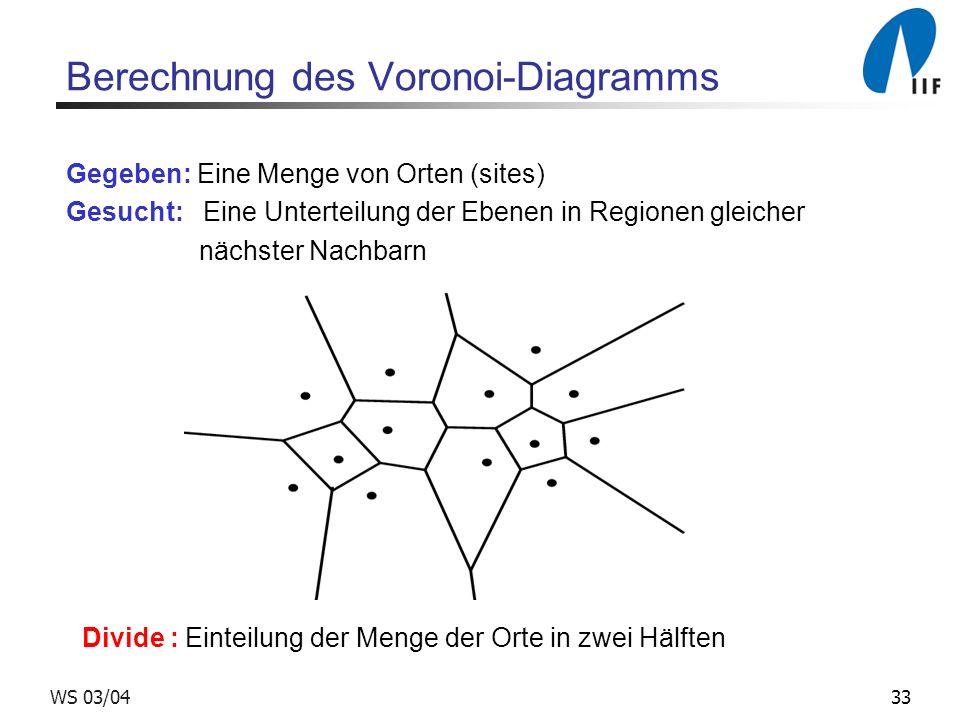 33WS 03/04 Berechnung des Voronoi-Diagramms Gegeben: Eine Menge von Orten (sites) Gesucht: Eine Unterteilung der Ebenen in Regionen gleicher nächster Nachbarn Divide : Einteilung der Menge der Orte in zwei Hälften