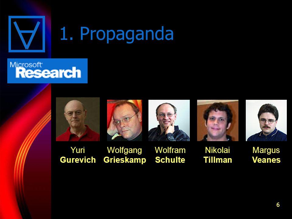 6 1. Propaganda Yuri Gurevich Wolfgang Grieskamp Wolfram Schulte Nikolai Tillman Margus Veanes
