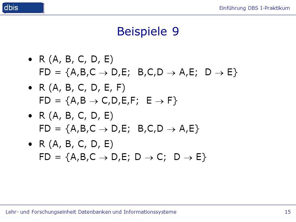 Einführung DBS I-Praktikum Lehr- und Forschungseinheit Datenbanken und Informationssysteme15 Beispiele 9 R (A, B, C, D, E) FD = {A,B,C D,E; B,C,D A,E;