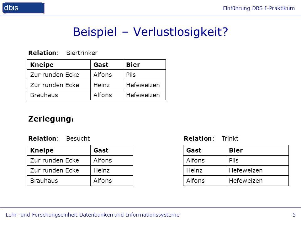 Einführung DBS I-Praktikum Lehr- und Forschungseinheit Datenbanken und Informationssysteme5 Beispiel – Verlustlosigkeit? KneipeGastBier Relation: Bier