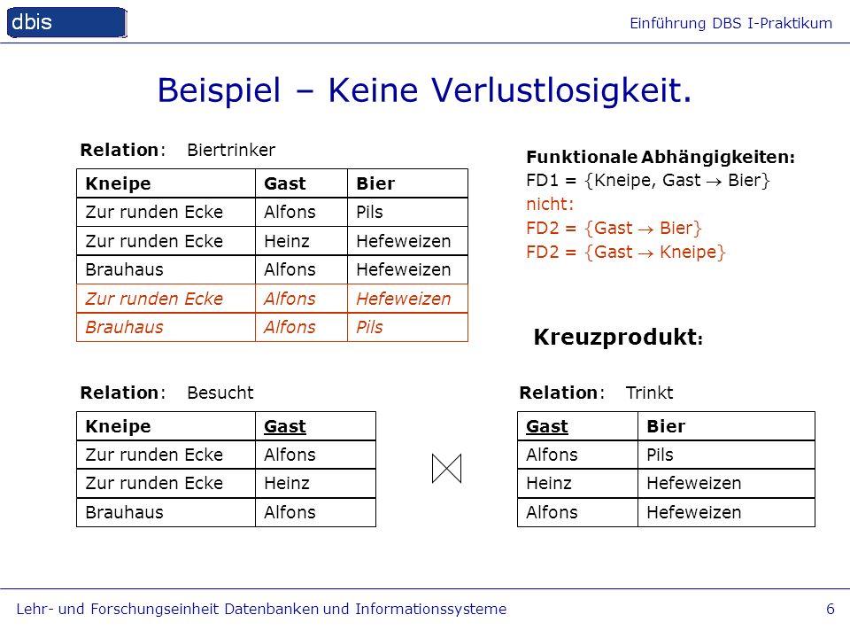 Einführung DBS I-Praktikum Lehr- und Forschungseinheit Datenbanken und Informationssysteme6 Beispiel – Keine Verlustlosigkeit. KneipeGastBier Relation