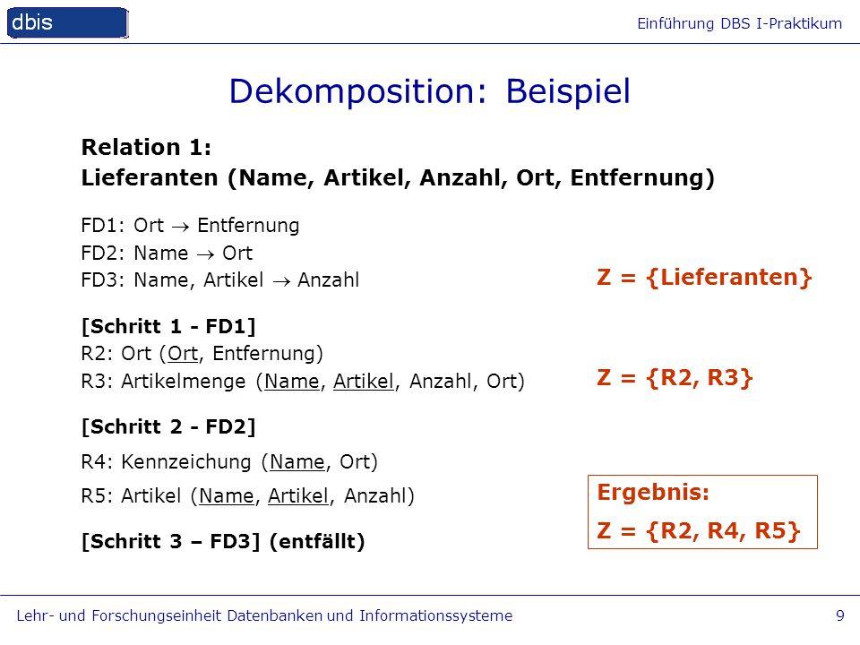 Einführung DBS I-Praktikum Lehr- und Forschungseinheit Datenbanken und Informationssysteme9 Dekomposition: Beispiel Relation 1: Lieferanten (Name, Art