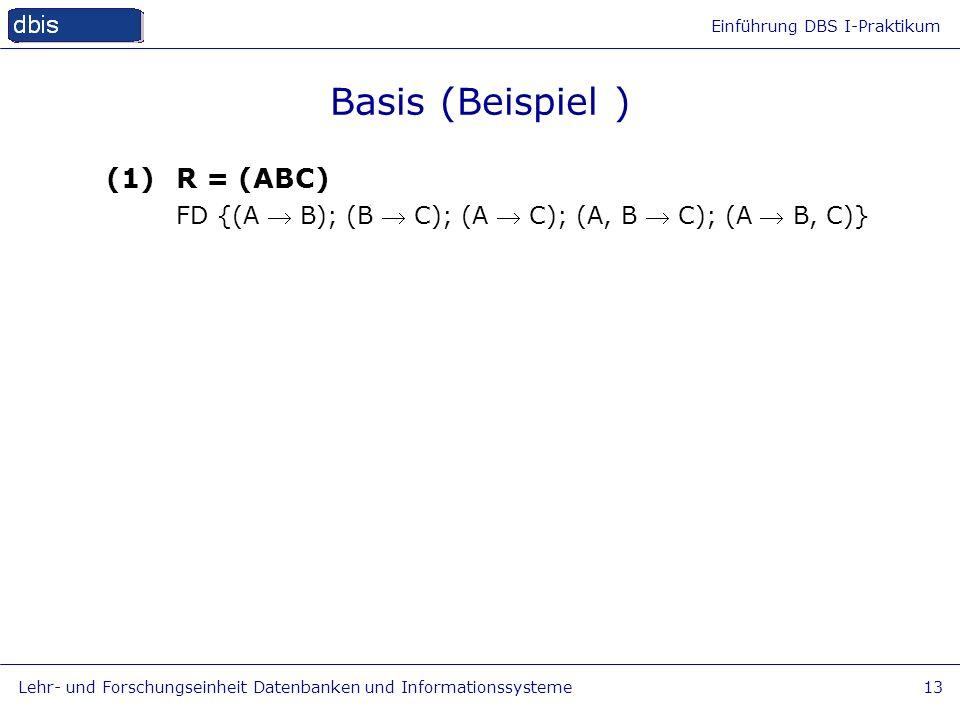 Einführung DBS I-Praktikum Lehr- und Forschungseinheit Datenbanken und Informationssysteme13 Basis (Beispiel ) (1)R = (ABC) FD {(A B); (B C); (A C); (