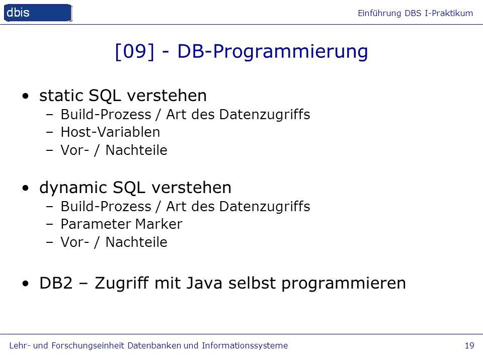 Einführung DBS I-Praktikum Lehr- und Forschungseinheit Datenbanken und Informationssysteme19 [09] - DB-Programmierung static SQL verstehen –Build-Proz
