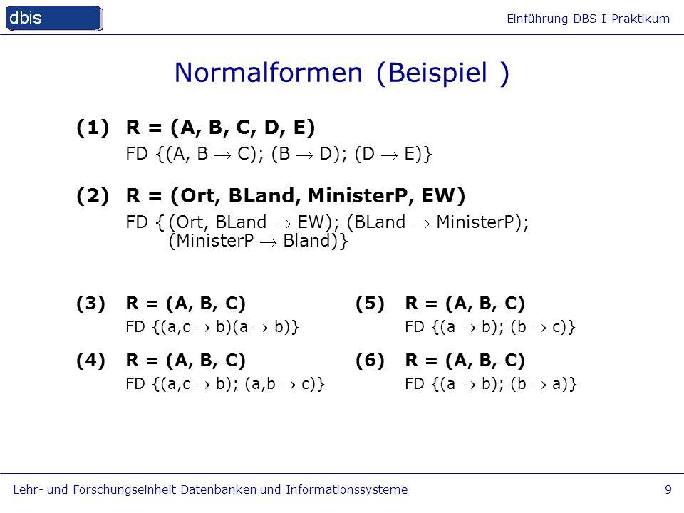 Einführung DBS I-Praktikum Lehr- und Forschungseinheit Datenbanken und Informationssysteme9 Normalformen (Beispiel ) (1)R = (A, B, C, D, E) FD {(A, B