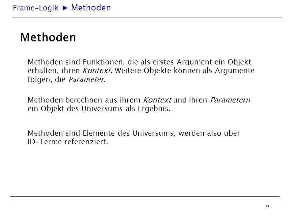 Frame-Logik 9 Methoden Methoden sind Funktionen, die als erstes Argument ein Objekt erhalten, ihren Kontext. Weitere Objekte können als Argumente folg