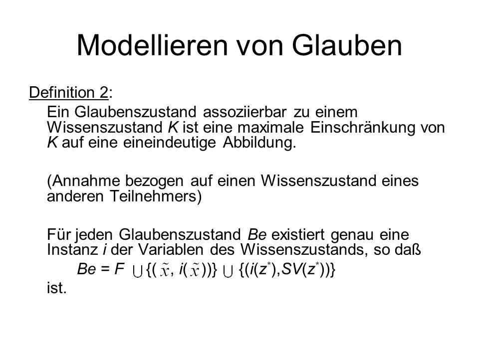 Modellieren von Glauben Definition 2: Ein Glaubenszustand assoziierbar zu einem Wissenszustand K ist eine maximale Einschränkung von K auf eine eineindeutige Abbildung.