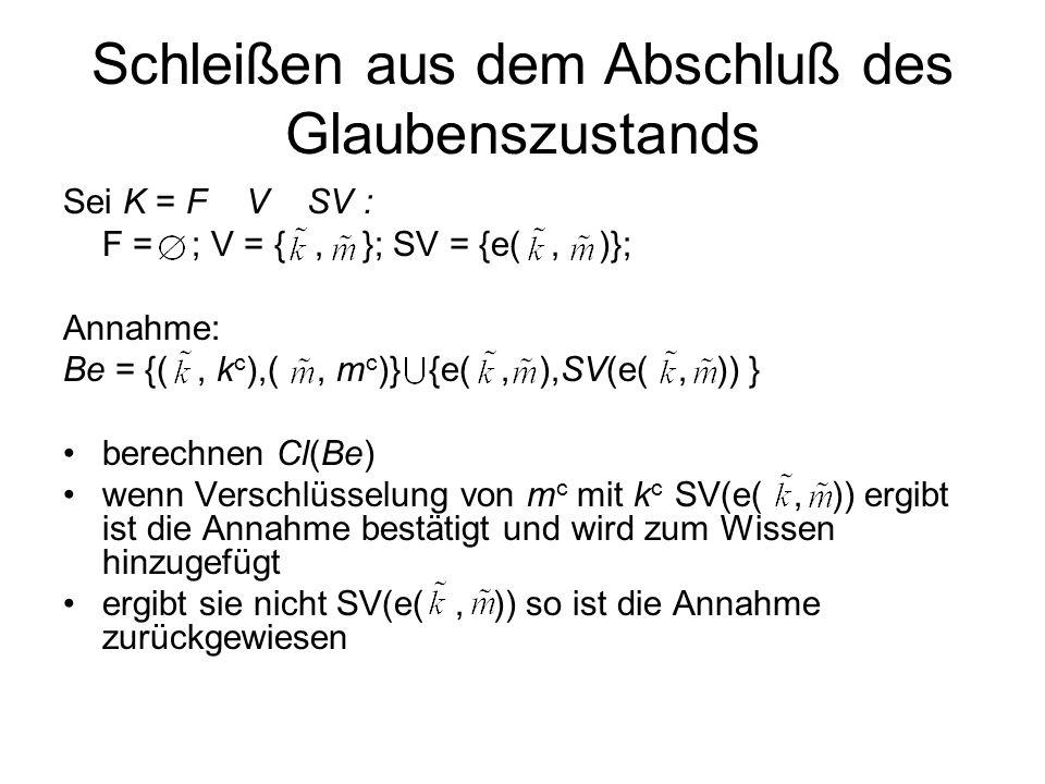 Schleißen aus dem Abschluß des Glaubenszustands Sei K = F V SV : F = ; V = {, }; SV = {e(, )}; Annahme: Be = {(, k c ),(, m c )} {e(, ),SV(e(, )) } berechnen Cl(Be) wenn Verschlüsselung von m c mit k c SV(e(, )) ergibt ist die Annahme bestätigt und wird zum Wissen hinzugefügt ergibt sie nicht SV(e(, )) so ist die Annahme zurückgewiesen